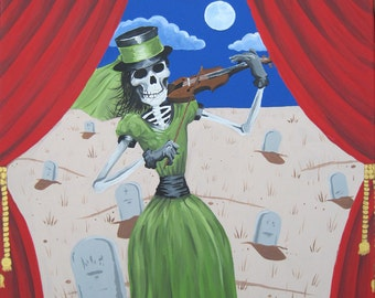 Gothic Art Home Decor Graveyard Guitarist & Graveyard Fiddler Set - 2 Print Set of Original Paintings - One Of A Kind -