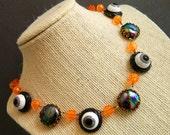 Halloween Necklace,  Retro Halloween Necklace, Black Orange Halloween, Retro Halloween, Vintage Halloween, Halloween Party, Eyeball Necklace