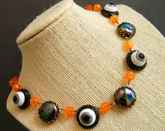 Halloween Necklace,  Retro Halloween Necklace, Black Orange Halloween, Retro Halloween, Vintage Halloween, Halloween Party, Eyeball Necklace