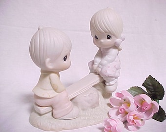 1990 Precious Moments Love Lifted Me Collectible Figurine, Vintage Porcelain Figure of Children Playing on Seesaw, Endearing Home Decor