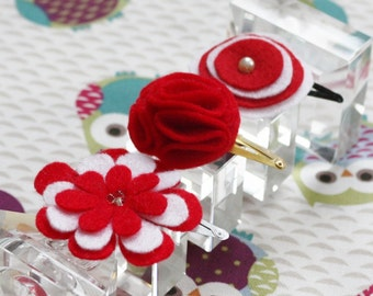Red Baby Hair Clips - Set of 3 Baby Snap Clips - Hair Clip - Felt Hairclip for Babies and Toddlers