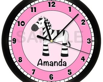 Pink and Black Zebra Wall Clock