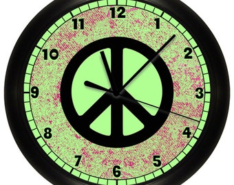 Lime Green Peace Sign Wall Clock to match bedroom decor art