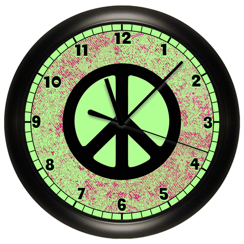 Wall Art Greenpeace : Lime green peace sign wall clock to match bedroom decor art