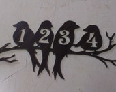 Perched Birds House Number Address Metal Sign, Wall decor, Metal Art, ANY NUMBERS