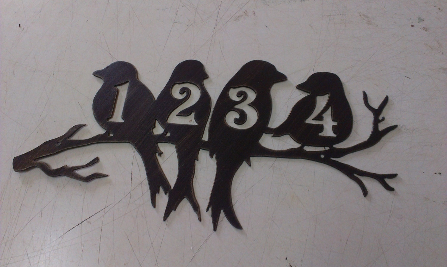 Wall Decor Metal Numbers : Perched birds house number address metal sign wall by tibi