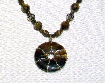 Tiger Eye Gemstone and Sterling Silver Necklace
