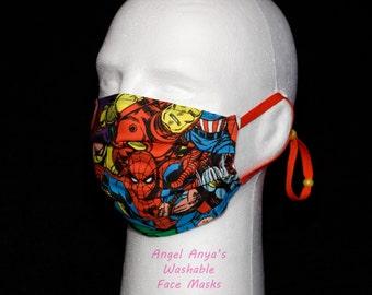 Washable Medical Face Masks Adult & Child Marvel Superheroes Print