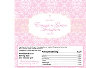 Damask Baptism, Communion, Dedication or Christening in Pink, White and Ivory- chocolate bar wrappers for favors or candy buffet- you print