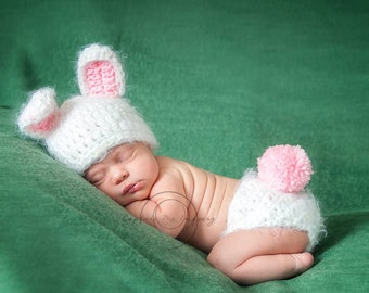 Personalized With Name Baby Girl or Baby Boy Bunny Set Newborn Photography Prop FREE CARROT! Photography Prop ANGEL Hair Yarn