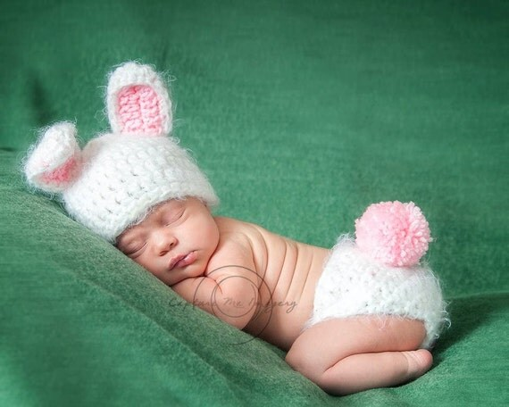 Baby Girl or Baby Boy Bunny Set Newborn Photography Prop FREE CARROT! Photography Prop ANGEL Hair Yarn