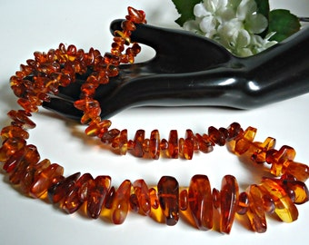 """Vintage Genuine Baltic Amber Cognac Chunky Nugget Beads Necklace 34"""" Long"""