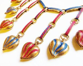 Enamel Brass Art Deco Necklace Puffy Heart Necklace Collar Bib Reversible 1930s Vintage Statement Necklace