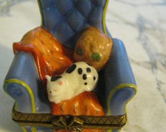 Vintage Ceramic Cat Sleeping On A Chair Trinket Box