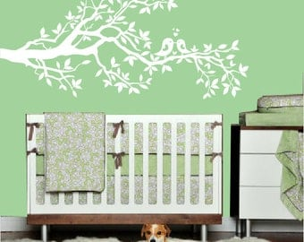 Wall Decal - white tree branch with hearts - decal with birds - vinyl wall decal