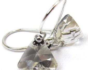Sparkly Crystal Earrings, Swarovski Crystal Silver Shade Triangle Earrings