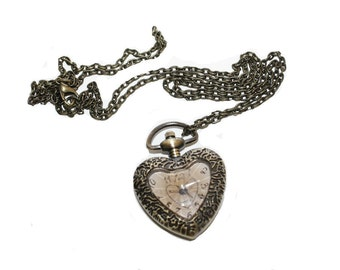 Heart Shaped Watch Necklace For Steampunk Jewelry