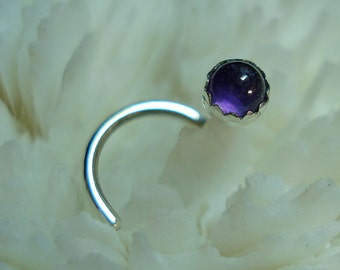AMETHYST, 3mm, nose jewelry, nose stud, nose ring, nose screw, Sterling Silver, February birthstone, ready to ship