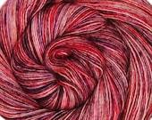 SALE hand dyed single ply yarn CHERRY CABARET sw merino fingering weight 3.5oz 400 yards