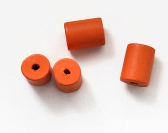 10 Orange Wooden Tube Beads, Geometric beads, Pink Wood Beads W 70 024