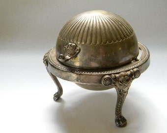 Antique FB Rogers Silverplate Roll Top Footed Butter Dish