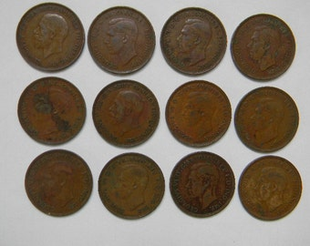 Coins - 12 Great Britain Bronze ONE PENNY COINS (1935 - 1949)