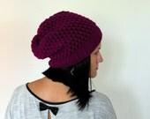 SALE Slouchy Beanie Hat Winter hat Crochet chunky beanie Slouchy Hipster Hat Slouch Unisex baggy radiant orchid Beanie Womens knit hat