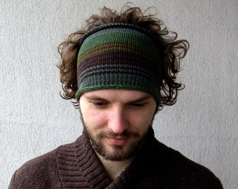 Knitted Mens Headband Guys knit hair wrap - green brown  Adults Dread band  Tube Hat Dreadlock