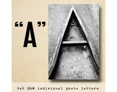 Letter A Alphabet Photography  Black and White 4x6 Photo Letter UNFRAMED