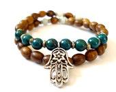 Hamsa Hand Bracelet, Wooden Mala Beads, Green Howlite, Silver Hamsa Hand, Double Wrap Mala Bracelet