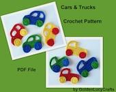 Crochet Pattern Car and Truck Applique, Transportation, Boy, Embellishment, Scrapbooking, PDF File