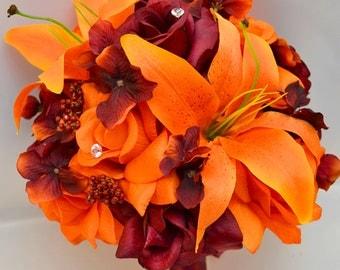"17 Piece Package Wedding Bridal Bride Maid Of Honor Bridesmaid Bouquet Boutonniere Silk Flower Fall BURGUNDY ORANGE ""Lily Of Angeles"" ORBU01"