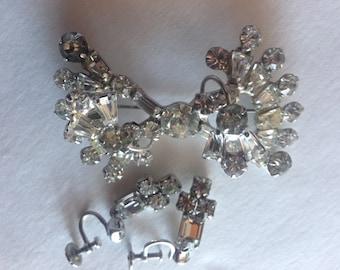 Clear Rhinestone Brooch & Earring Set Vintage Lot 248