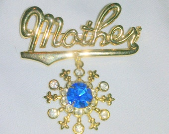 Vintage Gold Tone and Rhinestone Mother's Brooch