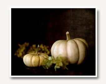 White Pumpkin Photo, pumpkin print, rustic, autumn decor, autumn photo, thanksgiving, fall decor, nature print, home decor, dramatic
