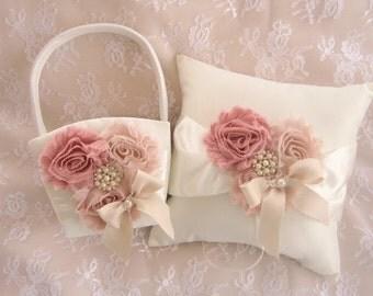 Flower Girl Basket -  Blush Rose Blossom Ivory Ring Bearer Pillow, Flower Girl Basket Wedding Pillow