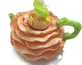 Flower  Teapot Tealight Holder Peach