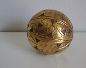 Wooden Ball With Brass Decoration, 2 Inch Wooden and Brass Ball, Child Toy, Pet Toy
