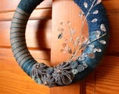 SALE!!  Shimmery Silver Blue Christmas Yarn Wreath