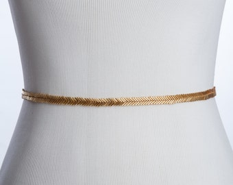 skinny gold bridal belt - wedding sash , gold beaded sash, bridal beaded sash