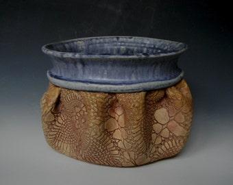 Handmade Ceramic Lace-Impressed Sitting Planter / Flower Pot