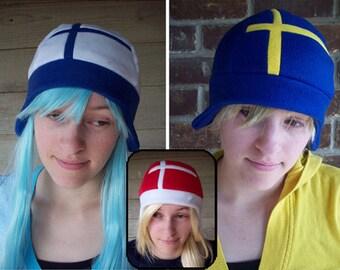 Finland, Sweden, or Denmark Style Flag Hat - Fleece Hat Adult, Teen, Kid - A winter, nerdy, geekery gift!