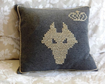 Knit Pillow Cover Gray Embroidered Gold Wolf Mask and Crown 16''