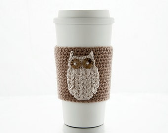 Coffee Cozy, snowy woodland owl, crocheted, taupe coffee sleeve, brown, beige, cream owl, cup sleeve