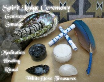 Spiritual Smudge & Gemtone Rebalancing Ritual Kit Release Rejuvenate Aura Spirit Lodge Ceremony New Age New Moon Magic Altar Meditation