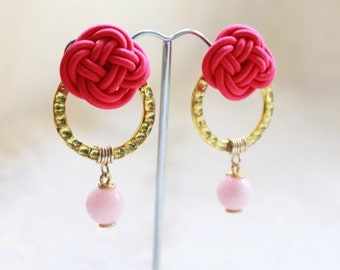Hot Pink Chinese Knot  with Golden Circle Drop Earrings (E652)