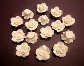 10 Fimo Polymer Clay White Flowers Roses 25mm Beads