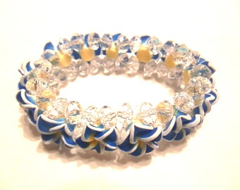 New Handmade Plumeria Blue White Flowers with White Crytals Bead Elastic  Bracelet