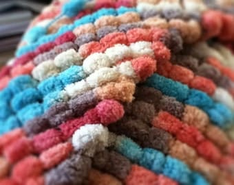 Pom Pom Blanket in Red, Gray, Light Blue, Yellow, and Orange, Photo Prop, Bucket Liner, Ready to Ship