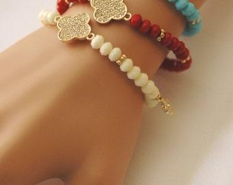 Clover bracelet, Stretch Clover Bracelet, Red White Blue bracelet, crystal clover bracelet, Gift for her